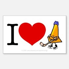 I heart Traffic Cones Rectangle Decal