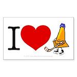 I heart Traffic Cones Rectangle Sticker
