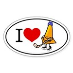 I heart Traffic Cones Oval Sticker