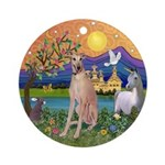 Greyhound in Fantasy Land Ornament (Round)