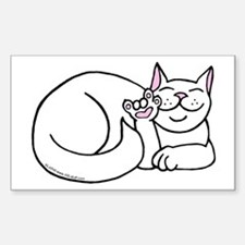 White ASL Kitty Rectangle Decal
