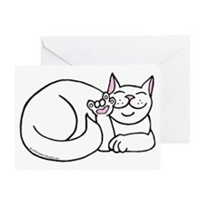 White ASL Kitty Greeting Card