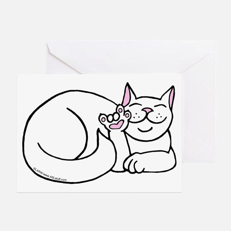 White ASL Kitty Greeting Card
