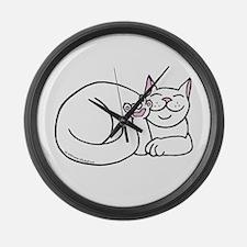 White ASL Kitty Large Wall Clock