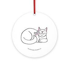 White ASL Kitty Ornament (Round)