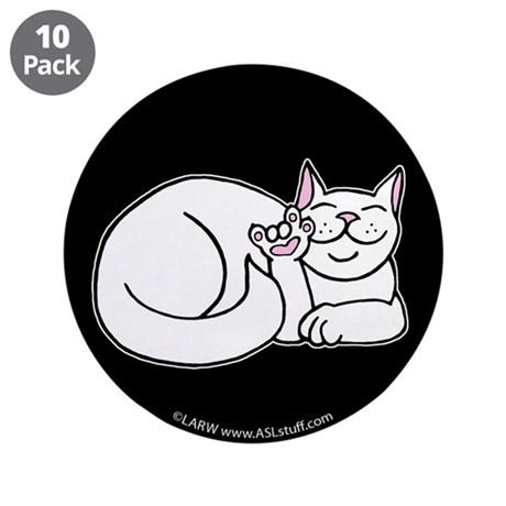 "White ASL Kitty Black 3.5"" Button (10 pack)"