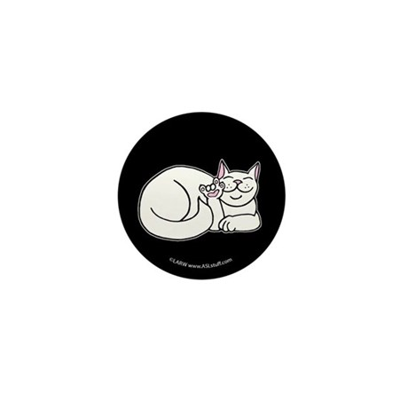 White ASL Kitty Black Mini Button