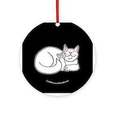 White ASL Kitty Black Ornament (Round)