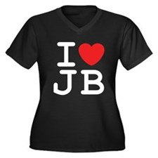 I Heart JB (B) Women's Plus Size V-Neck Dark T-Shi
