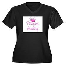 Princess Audrey Women's Plus Size V-Neck Dark T-Sh