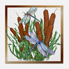 Dragonfly & Cattails Tile Coaster