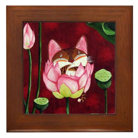 Cat Art~Speak No Evil Framed Tile
