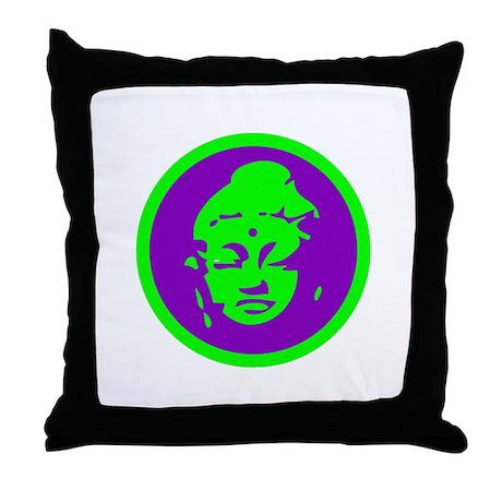 Green & Purple Buddah Throw Pillow