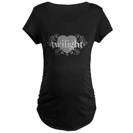 twilight motif (Gray) Maternity Dark T-Shirt