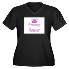 Princess Amber Women's Plus Size V-Neck Dark T-Shi