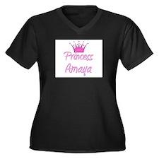 Princess Amaya Women's Plus Size V-Neck Dark T-Shi