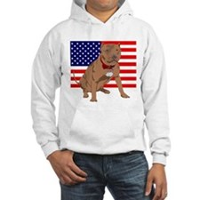 Red Nose Pit Bull USA Flag Hoodie