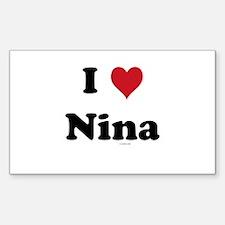 I love Nina Rectangle Decal