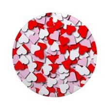 Confetti Hearts Ornament (Round)