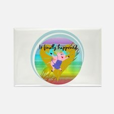 Pig Flying Rectangle Magnet