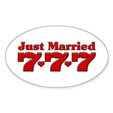 Just Married 777 Oval Decal