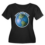 YOU ARE HERE Women's Plus Size Scoop Neck Dark T-S