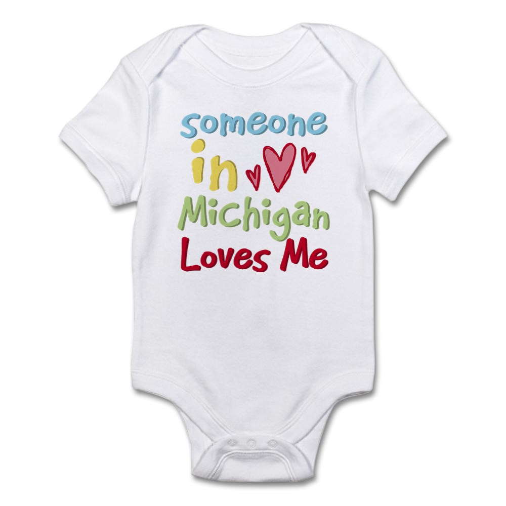 349192764 CafePress Someone In Michigan Loves Me Infant Bodysuit Baby Bodysuit
