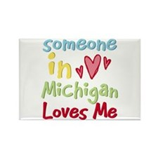 Someone in Michigan Loves Me Rectangle Magnet (10