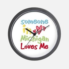 Someone in Michigan Loves Me Wall Clock