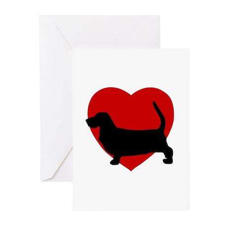 Basset Hound Valentine's Day Greeting Cards (Pk of