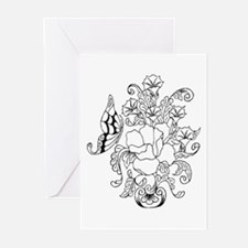 Rose and Butterfly Color Your Greeting Cards (Pack
