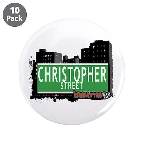 "CHRISTOPHER STREET, MANHATTAN, NYC 3.5"" Button (10"