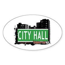 CITY HALL, MANHATTAN, NYC Oval Decal