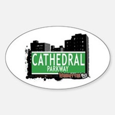 CATHEDRAL PARK WAY, MANHATTAN, NYC Oval Decal