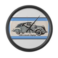 """""""1936 Lincoln Zephyr"""" Large Wall Clock"""