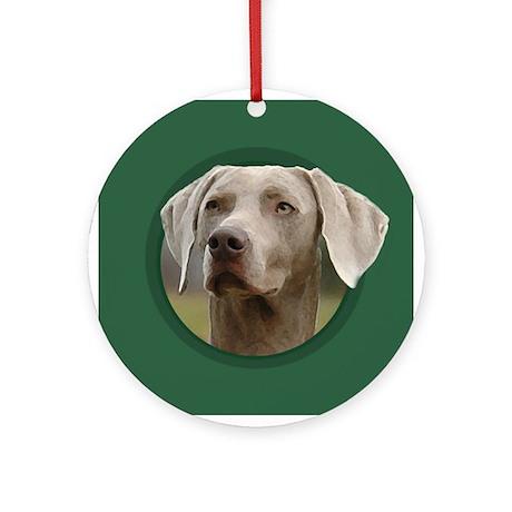Weimaraner Green Round Ornament