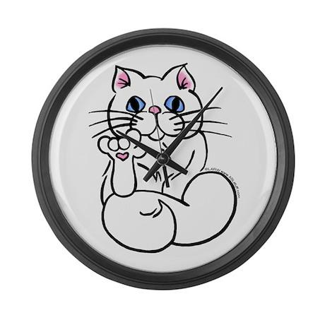 Longhair ASL Kitty Large Wall Clock
