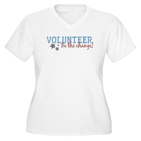 Volunteer Be the Change Women's Plus Size V-Neck T