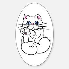 Longhair ASL Kitty Oval Decal