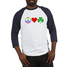 Peace Love Shamrock Irish Baseball Jersey