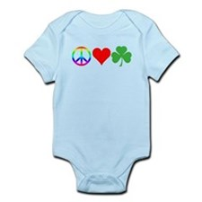 Peace Love Shamrock Irish Infant Bodysuit