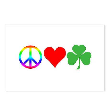 Peace Love Shamrock Irish Postcards (Package of 8)