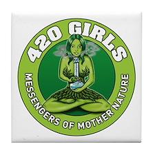 Cute 420 girls Tile Coaster