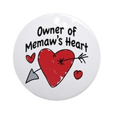 OWNER OF MEMAW'S HEART Ornament (Round)