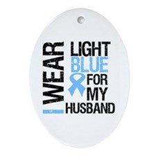 IWearLightBlue Husband Oval Ornament