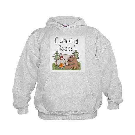 Bear Camping Rocks Kids Hoodie