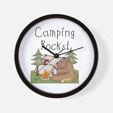 Bear Camping Rocks Wall Clock