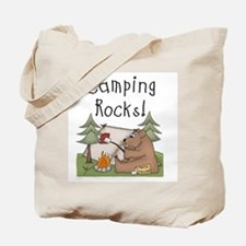 Bear Camping Rocks Tote Bag