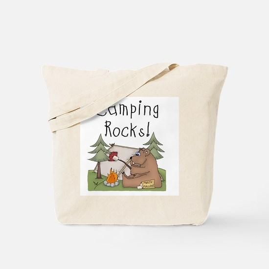 Bear Camping Rocks Tote Bag