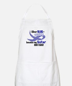 I Wear Blue & White For My Sister 33 BBQ Apron